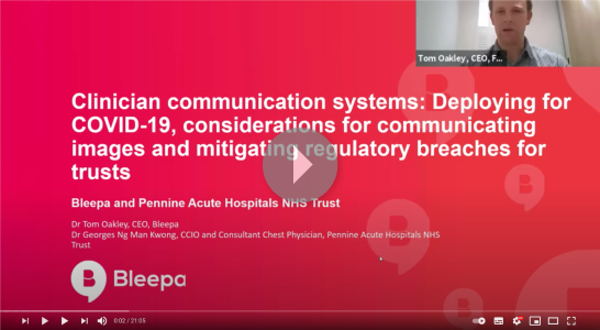 Showing a slide from presentation on clinician communication systems