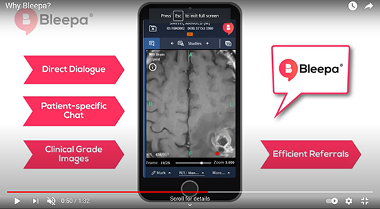 Smart phone showing an MRI scan surround with annotations in speech bubbles